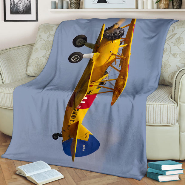 Yellow Biplane Airplane Premium Blanket