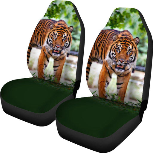 Tiger Stare Green Design Seat Covers