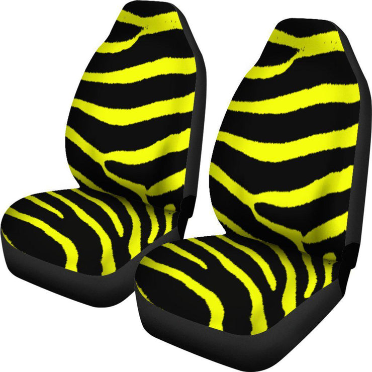Zebra Print Yellow Design Seat Covers