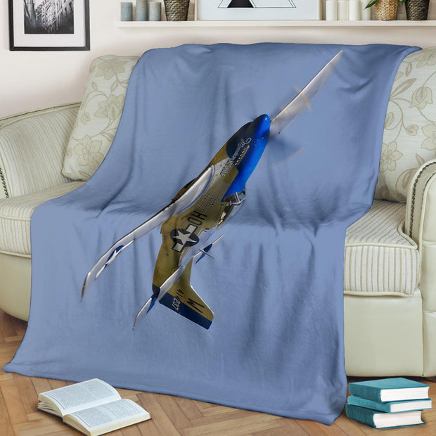 P51 Mustang Fighter Airplane Premium Blanket