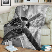 Airplane Propeller Black White Premium Blanket