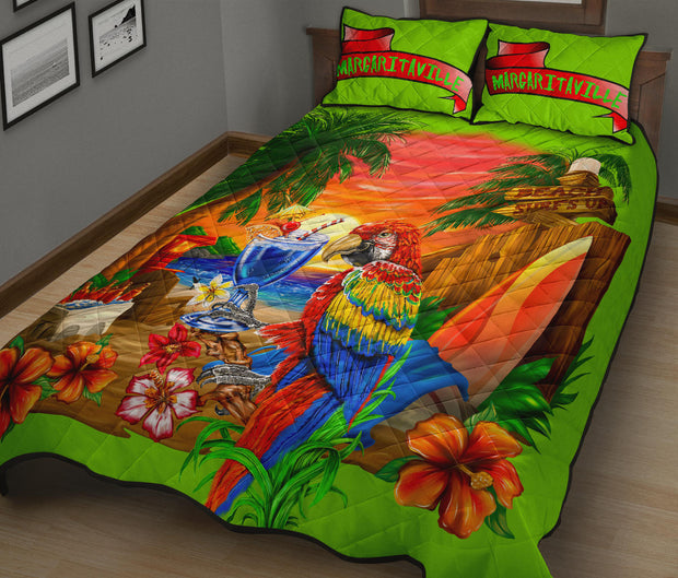 Margaritaville Parrot Lime Green Quilt Set