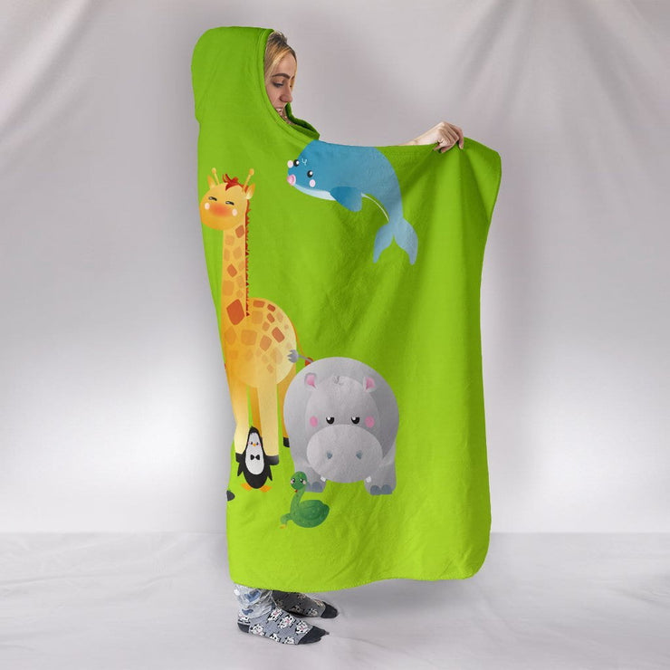 Cute Animal Characters Hooded Blanket