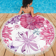 Pink Purple Flowers Round Beach Towel Blanket