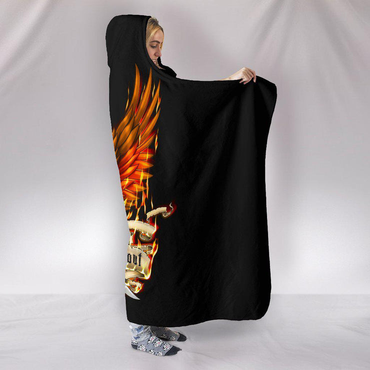 Firefighter First In Last Out Eagle Design Hooded Blanket