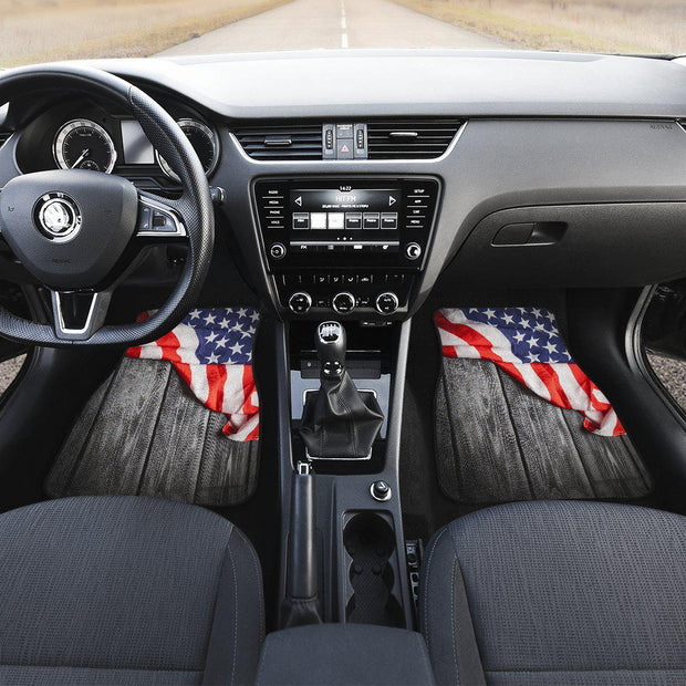 Vintage American Flag Wood Front Floor Mats Set of 2