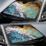 Auto Sun Shade - Abstract Sand and Surf Design