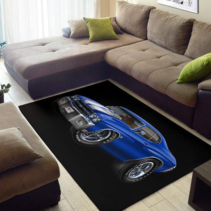 1970 Chevelle Blue USA Plate Area Rug