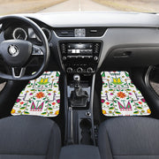 Geometric Floral Summer-White Set of 4 Car Floor Mats