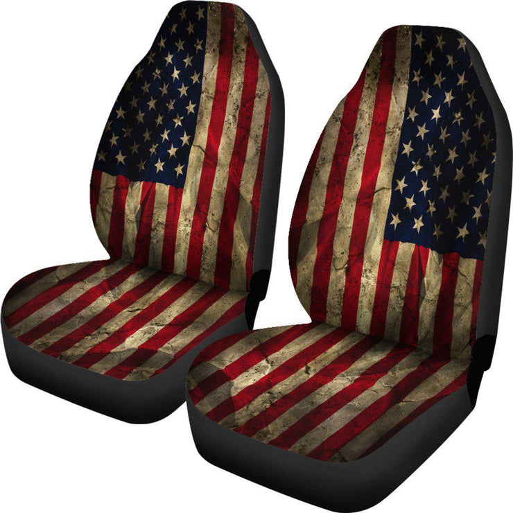 Aged American Flag Seat Covers