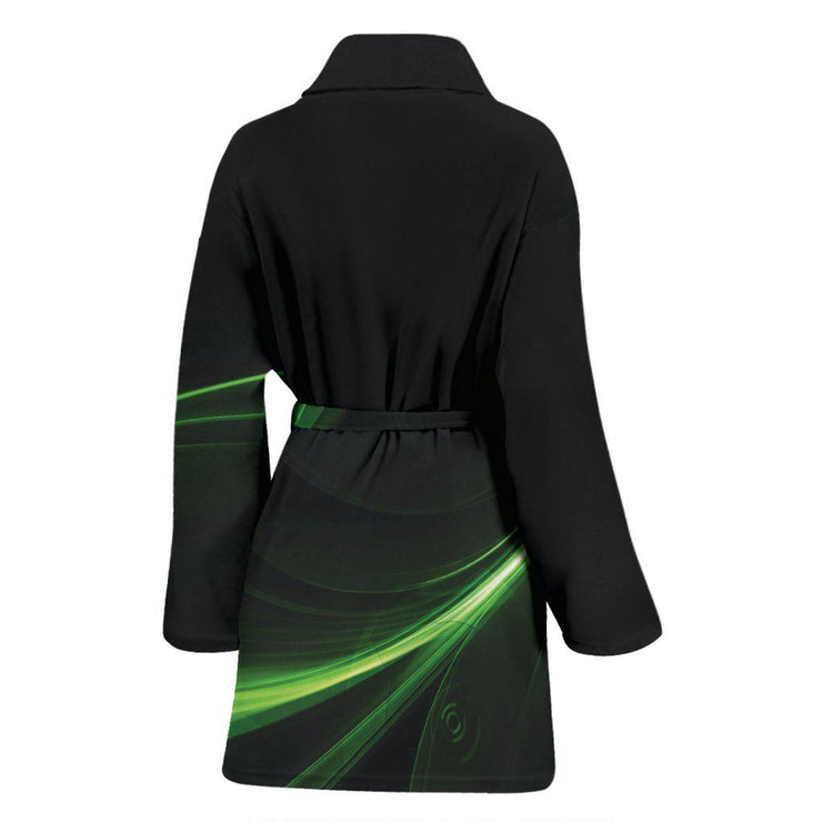 Womens Black Green Abstract Design Bathrobe
