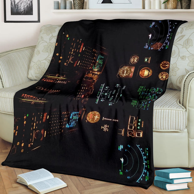 Airplane Cockpit Instrument Panel Premium Blanket