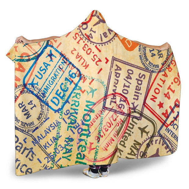 Travel Stamps Hooded Blanket
