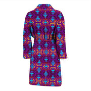 Fire Colors and Turquoise Purple Men's Bath Robe