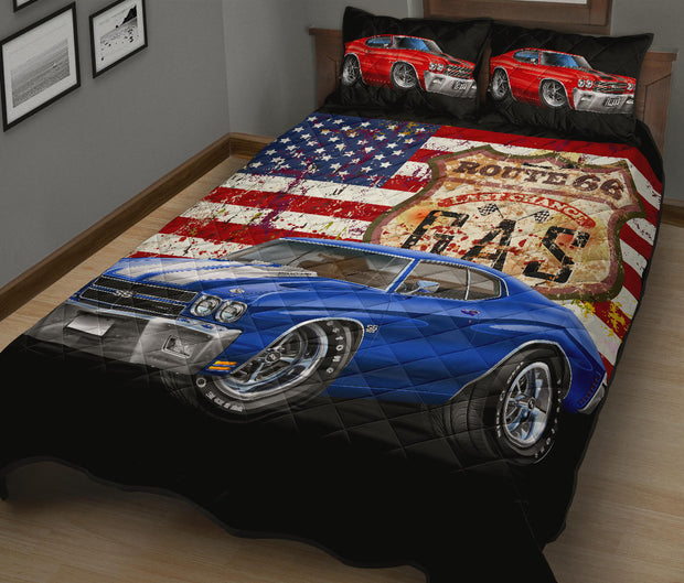 1970 Chevelle Route 66 American Flag Quilt Set