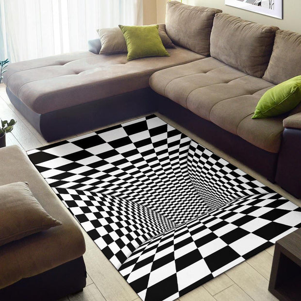 Tunnel Optical Illusion Checkered Flag Area Rug