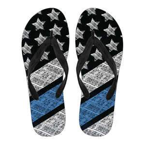 Blue Lives Matter Women's Flip Flops (Black)
