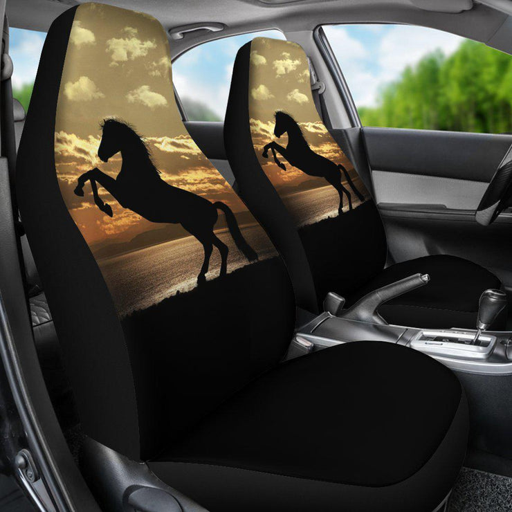 Stallion Horse Silhouette Ocean Sunset Seat Covers