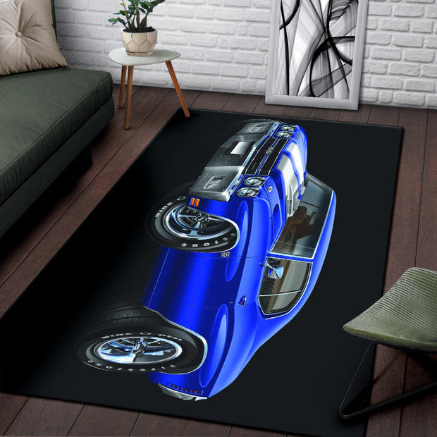 1970 Blue White Stripes Chevelle Area Rug
