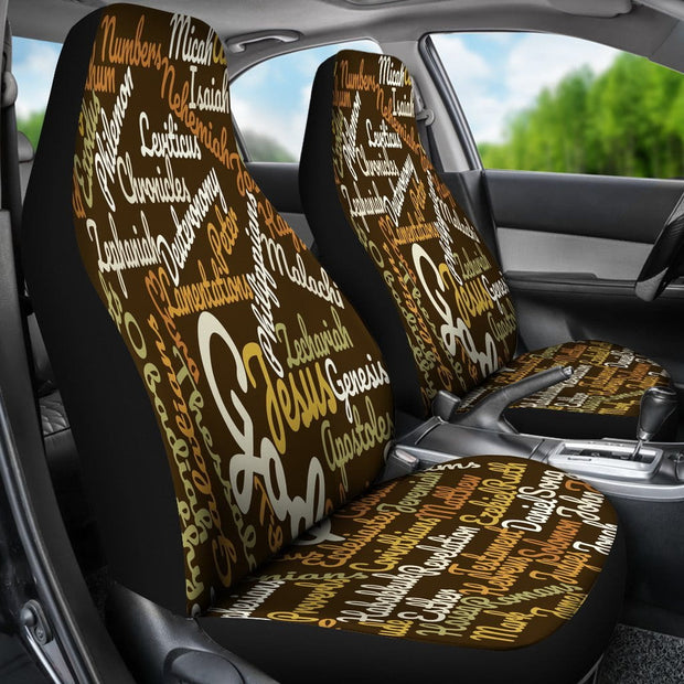 Custom-Made Holy Bible Books Brown Car Seat Covers