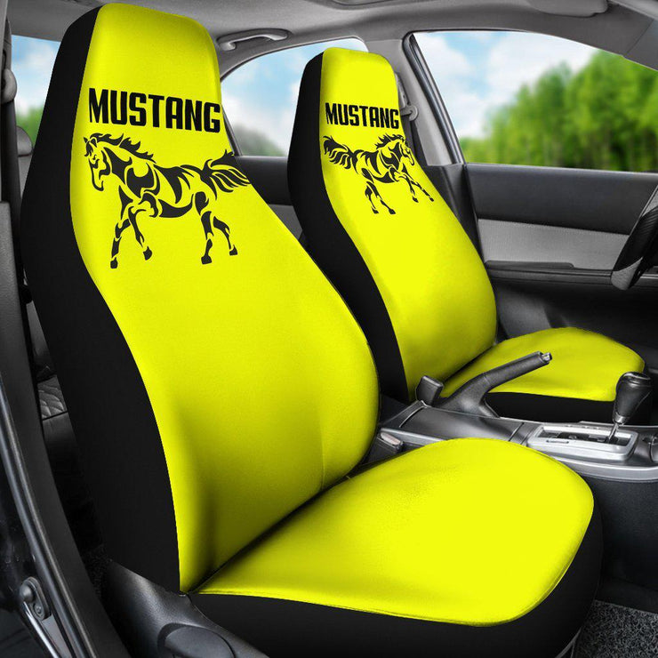 Mustang Horse Silhouette Yellow Seat Covers