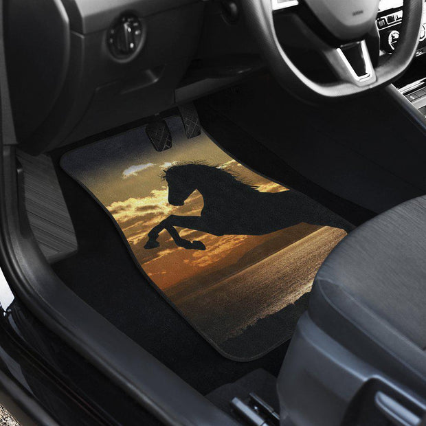 Stallion Horse Ocean Sunset Front Floor Mats Horse Set