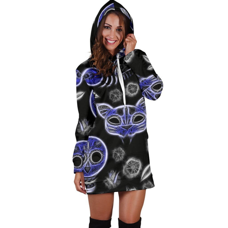 Fractal Cat Bird and Skulls Hoodie Dress