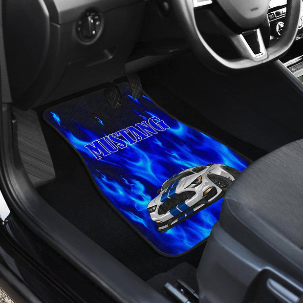 Ford Mustang Blue Flames Floor Mats Set of 4