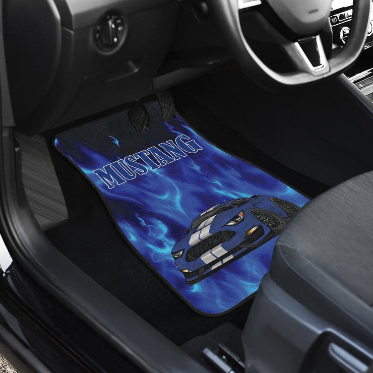 Blue Mustang Silver Stripes Car Mats