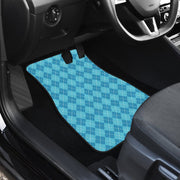 Blue Argyle Front and Back Car Floor Mats Set 4