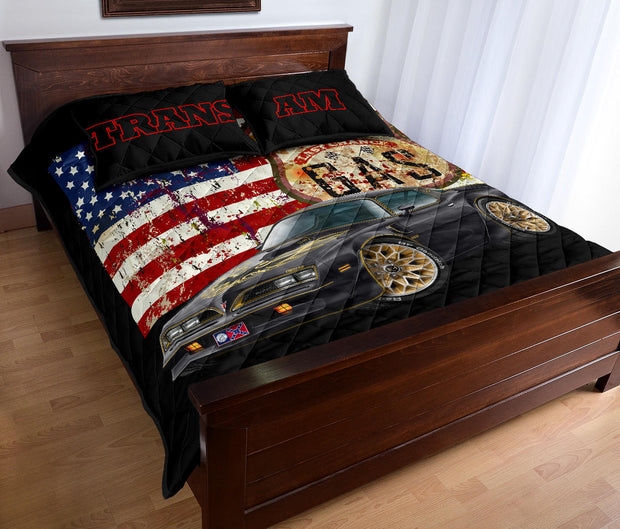 Trans Am American Flag Route 66 Muscle Car Art Quilt Set