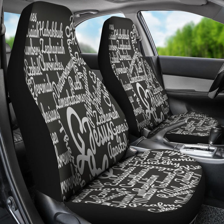 Custom-Made Holy Bible Books White Black Car Seat Covers