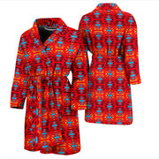 Fire Colors and Turquoise Red Men's Bath Robe