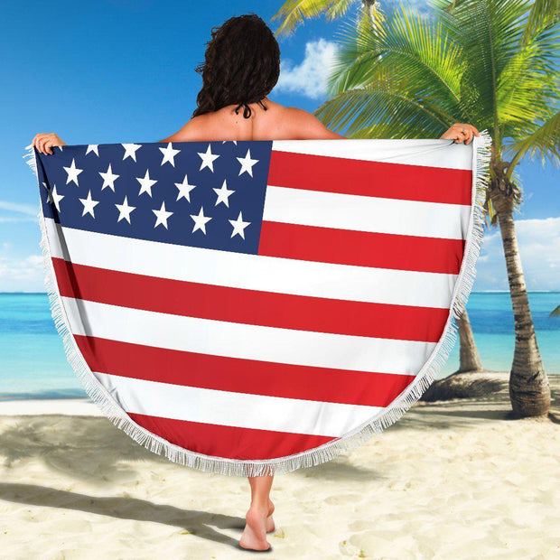 Amercian Flag Round Beach Blanket Towel Red White Blue