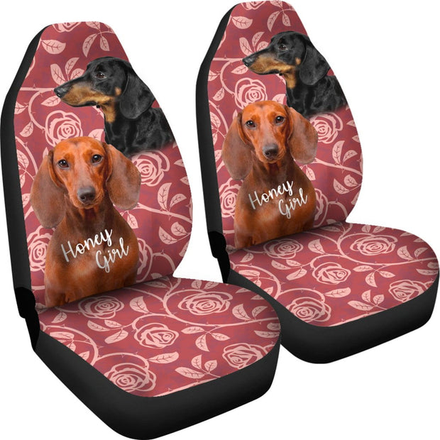 Pink Dachshund Car Seat Covers