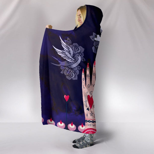 Love Ink Hooded Blanket for Tattoo Lovers