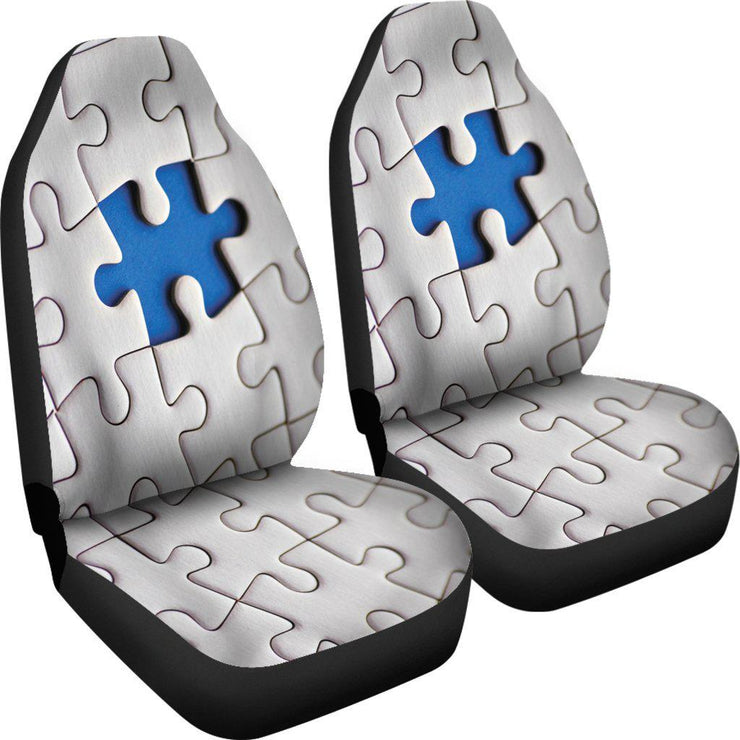 Autism Puzzle Design White Seat Covers