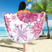 Pink Purple Flowers Round Beach Towel Blanket Round Beach