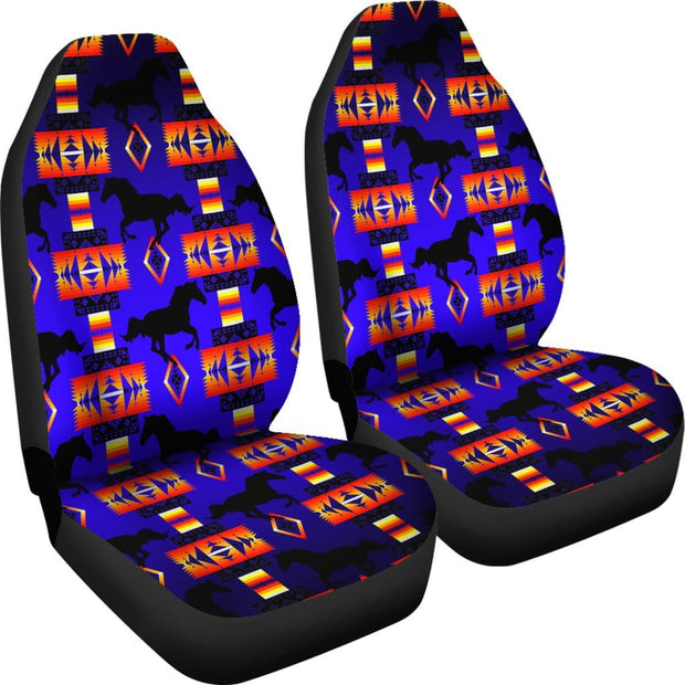 Seven Tribes Horse Blue Set of 2 Car Seat Covers