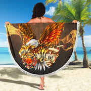 Fireman First In Last Out Round Beach Towel Blanket