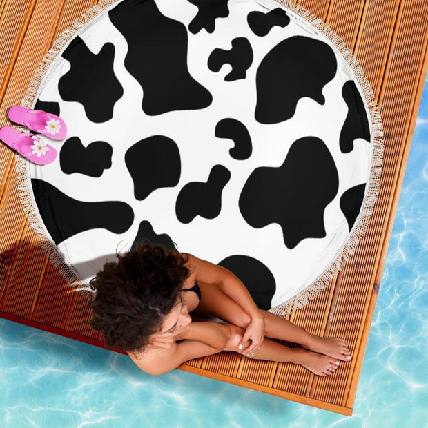 Cow Print Round Beach Towel Blanket