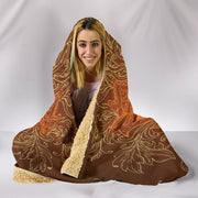 HandCrafted Brown Lotus Hooded Blanket