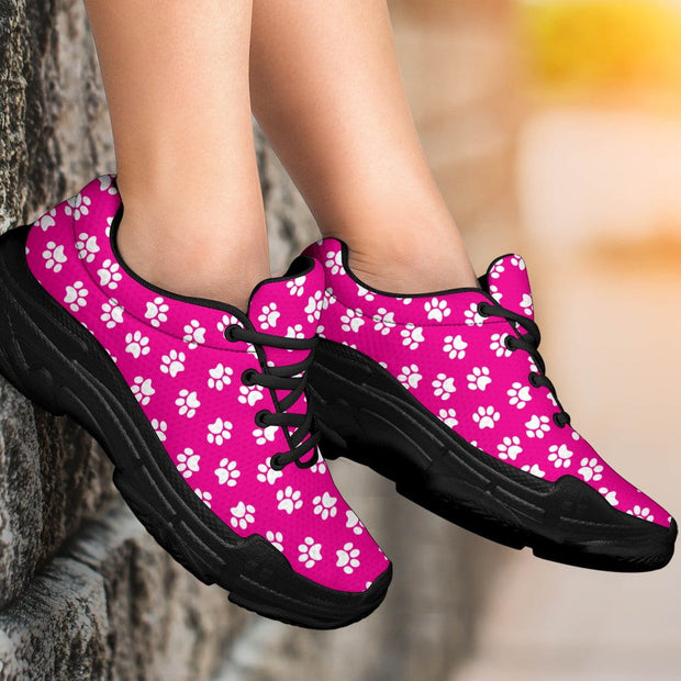 Paw Print Hot Pink Chunky Sneakers