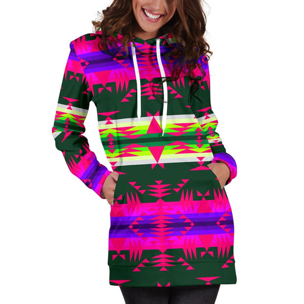 Between the Mountains Teal Pink Hoodie Dress