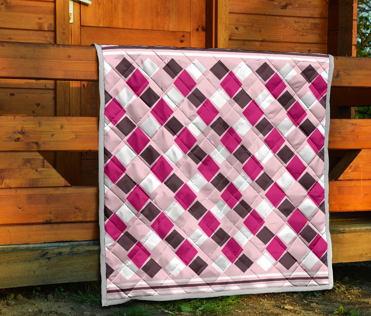 Diamonds In The Rough Pink Brown Quilt