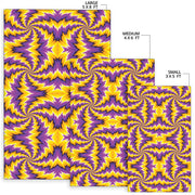 Spiral Optical Illusion Area Rug Purple Yellow