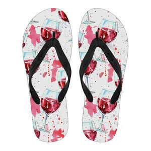 A Glass of Wine Ladies Flip Flops