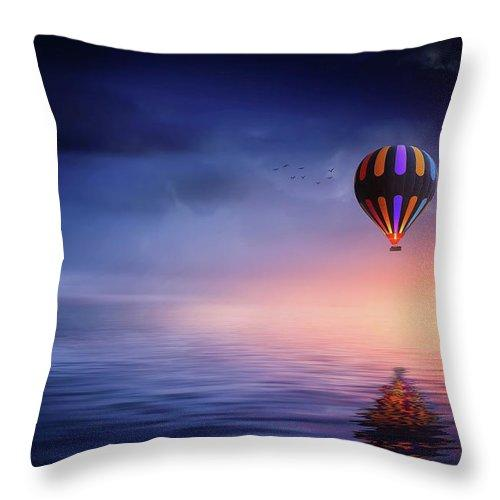 Hot Air Balloon Sunset - Throw Pillow