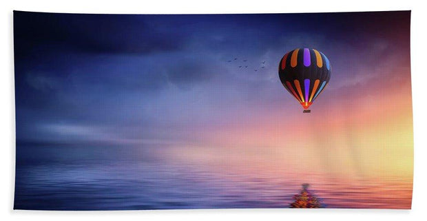 Hot Air Balloon Sunset - Bath Towel