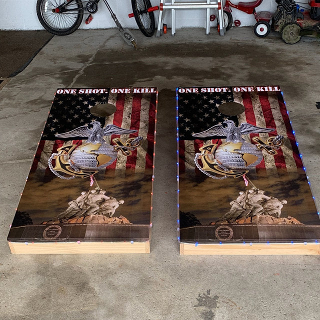US Marines One Shot One Kill Cornhole Board Decal Wraps
